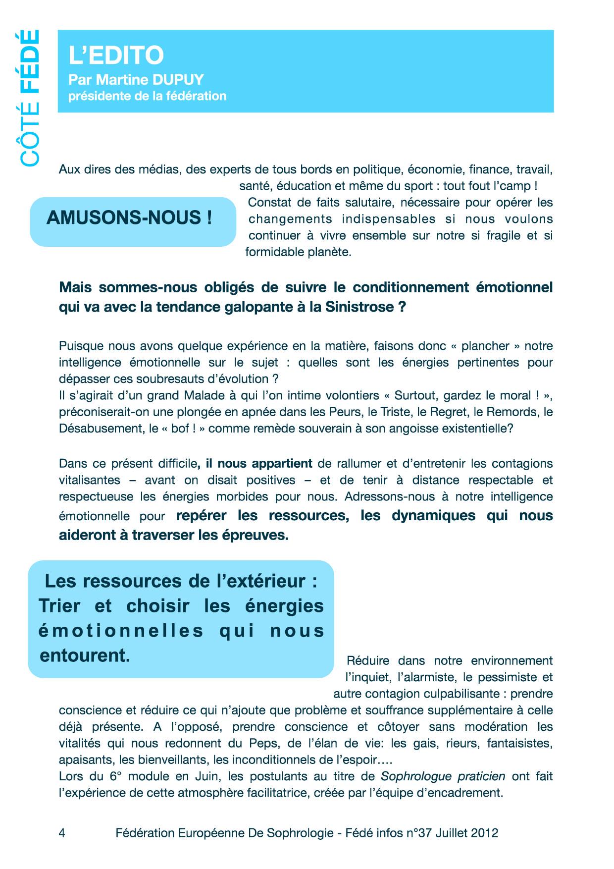 Editorial du Fédé Infos N°37