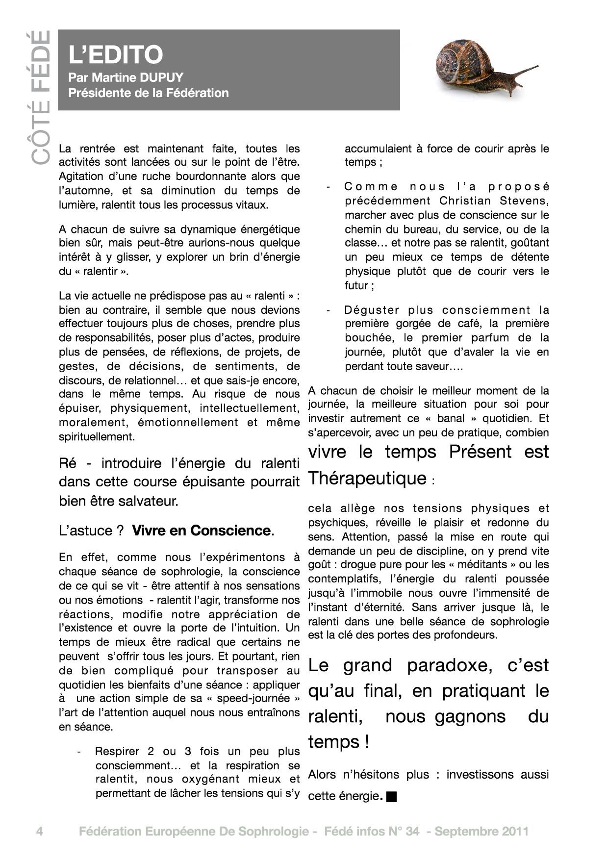 Editorial du Fédé Infos N°34