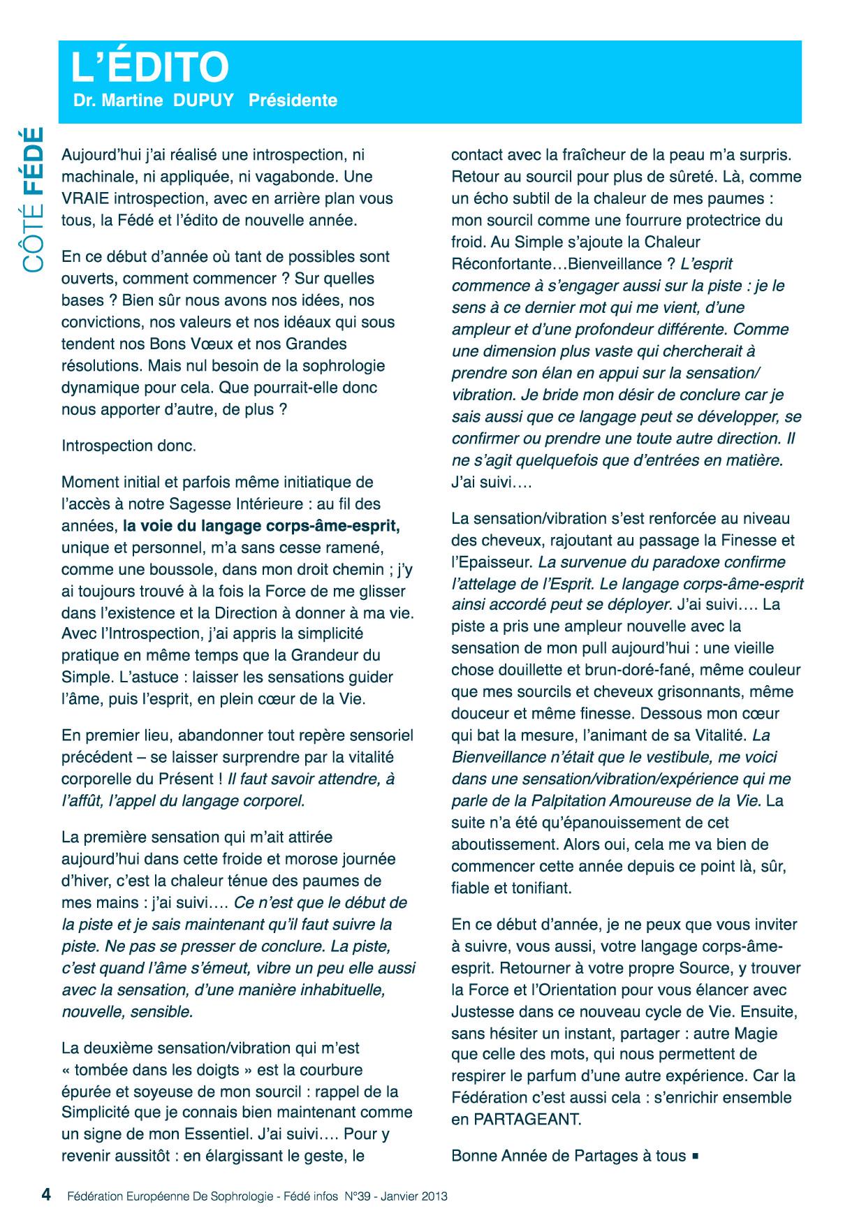 Editorial du Fédé Ifos N°39
