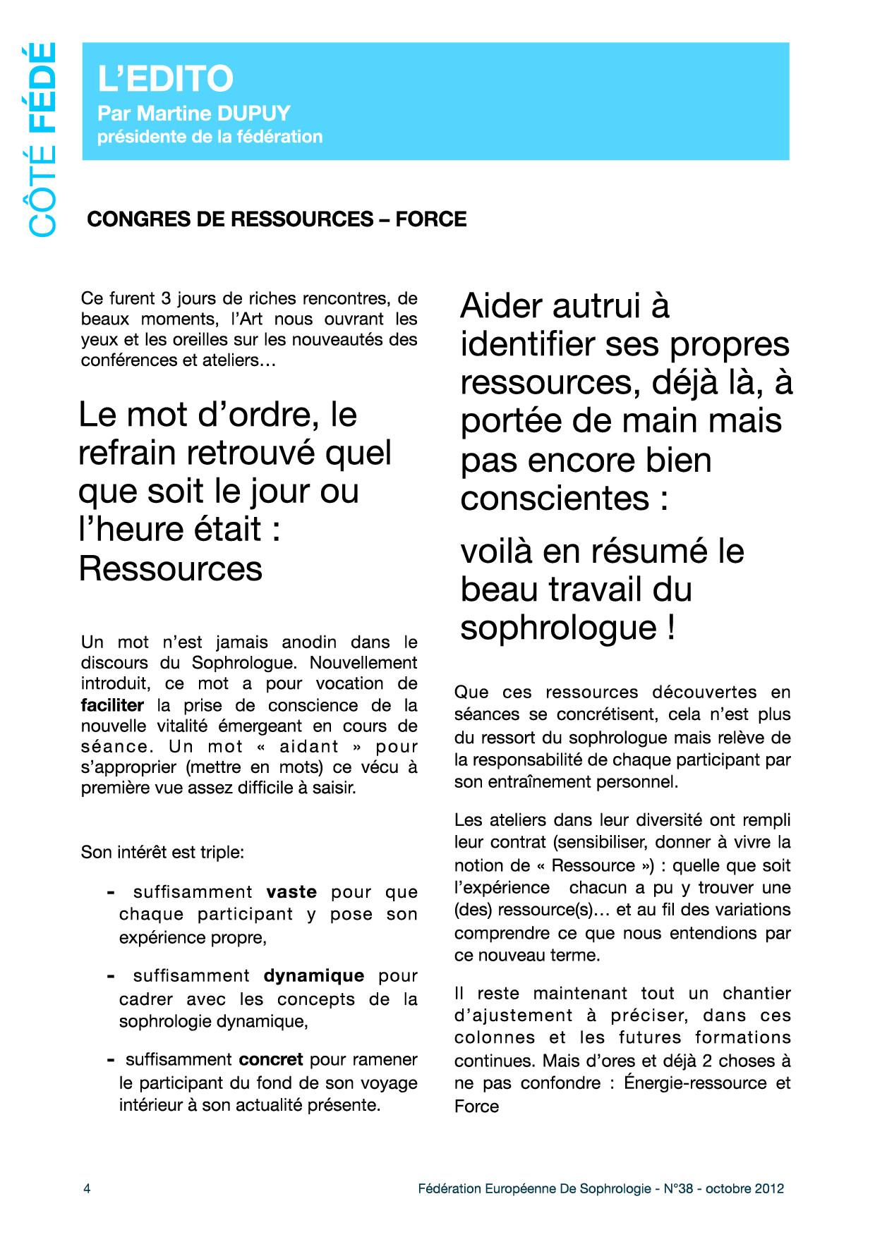Editorial du Fédé Infos N°38