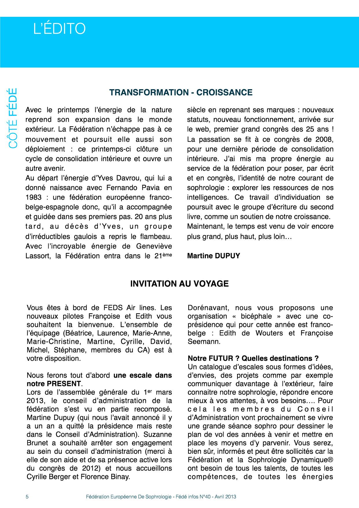 Edito Fédé Infos N°40 avril 2013