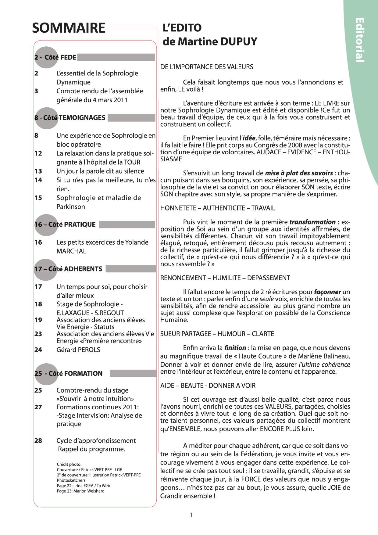 Sommaire et Edito Fédé Infos N°32