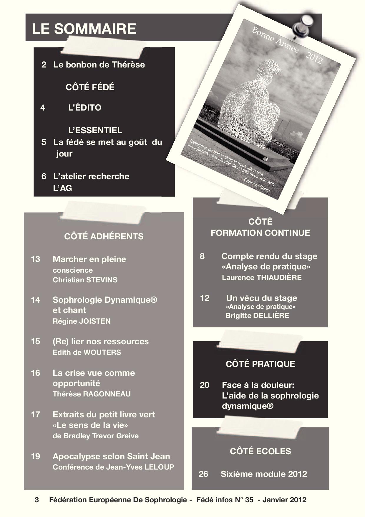 Sommaire Fédé Infos N°35