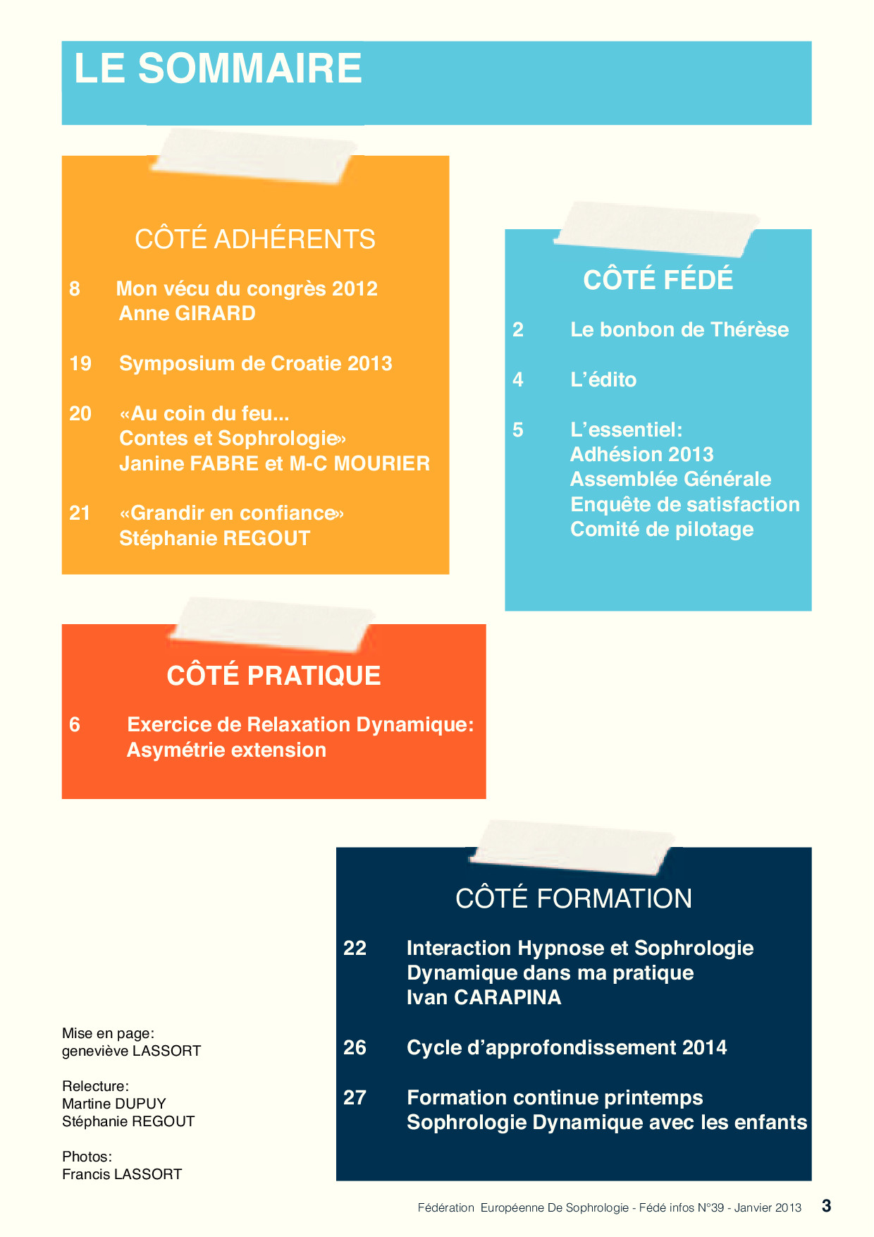 Sommaire Fédé Infos N°39