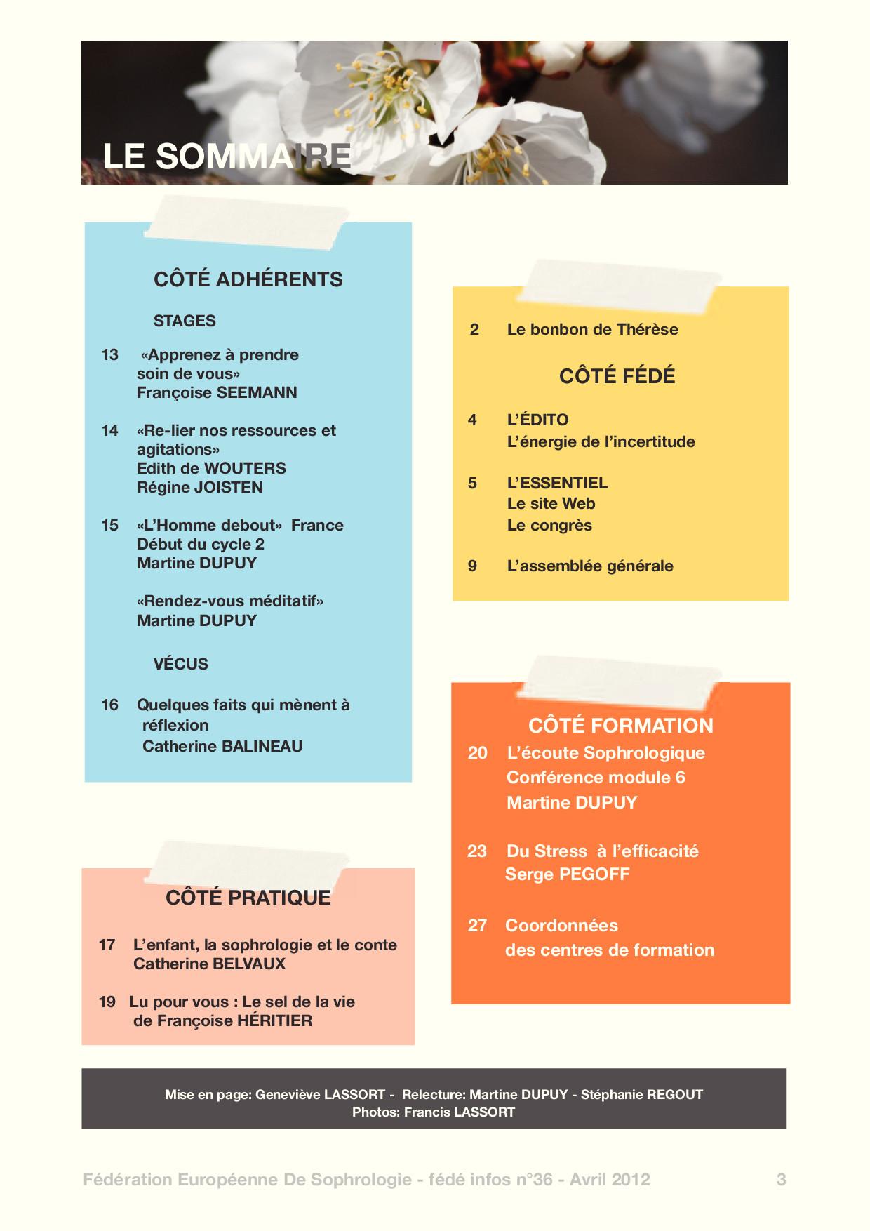 Sommaire Fédé Infos N°36