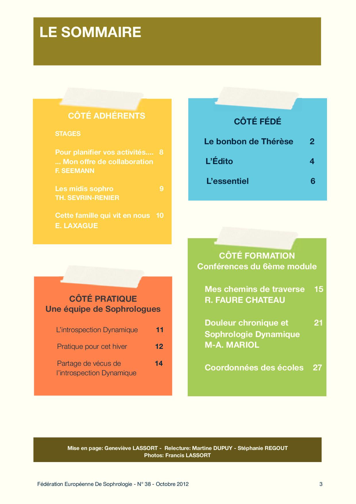 Sommaire Fédé Infos N°38
