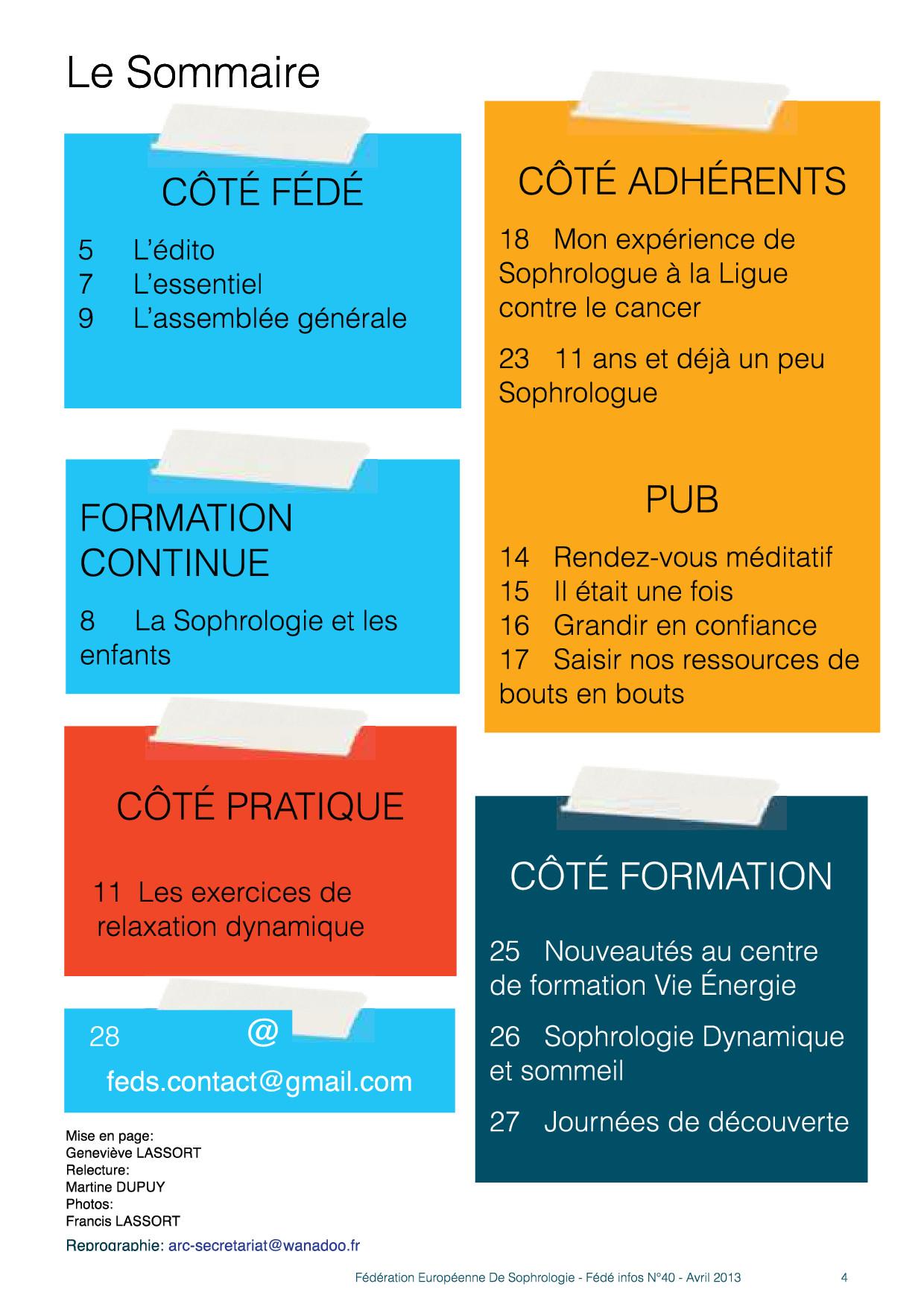 Sommaire Fédé Infos N°40 avril 2013