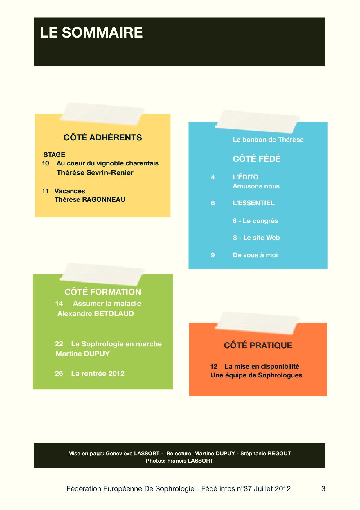 Sommaire Fédé Infos N°37